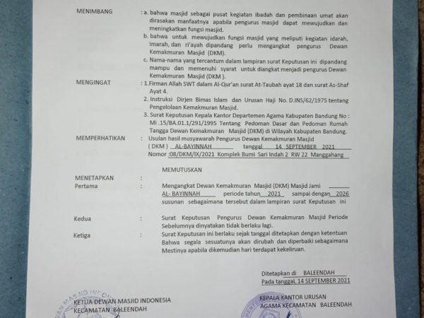 Masjid Al Bayyinah Telah resmi tercatat di Kantor Urusan Agama Kecamatan Baleendah